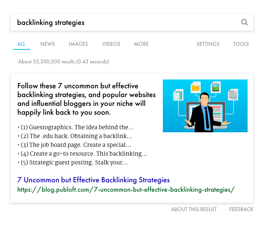 publoft branded search engine results page showing backlinking strategies blog post